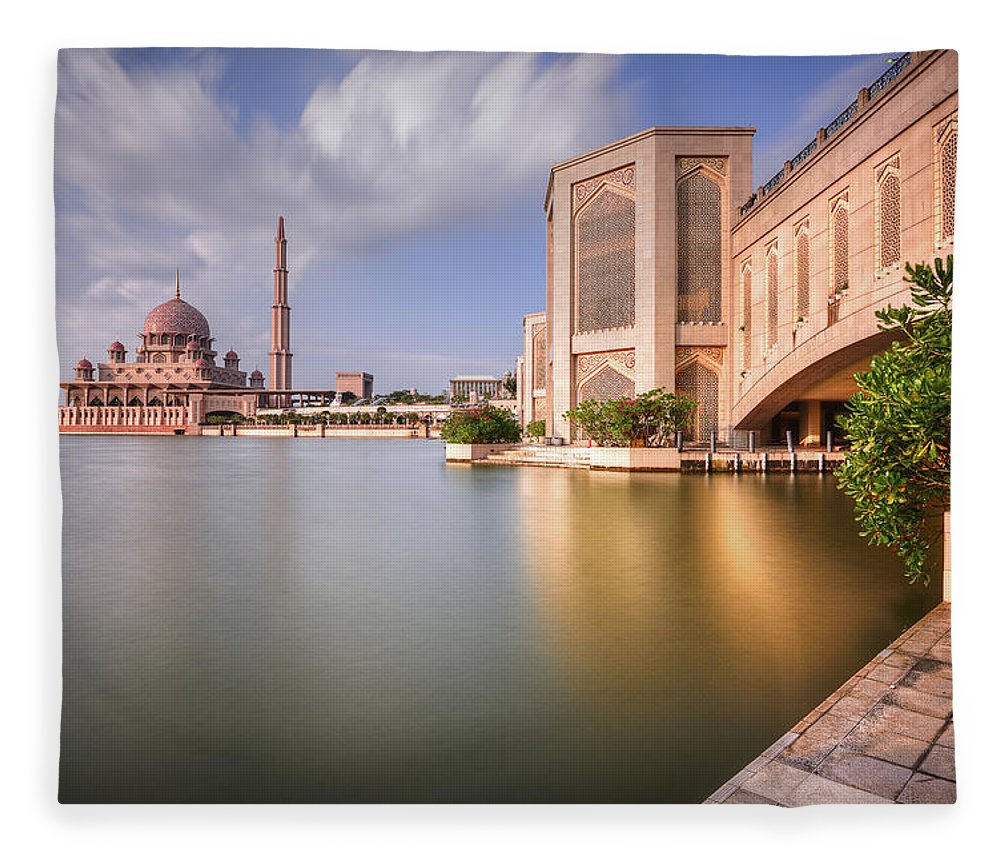 Tranquility Fleece Blanket featuring the photograph The Bridge And The Mosque by Khasif Photography