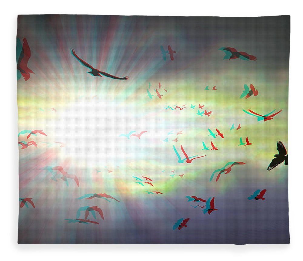 3d Fleece Blanket featuring the photograph The Call - The Caw - Use Red/cyan Filtered 3d Glasses For Viewing by Brian Wallace