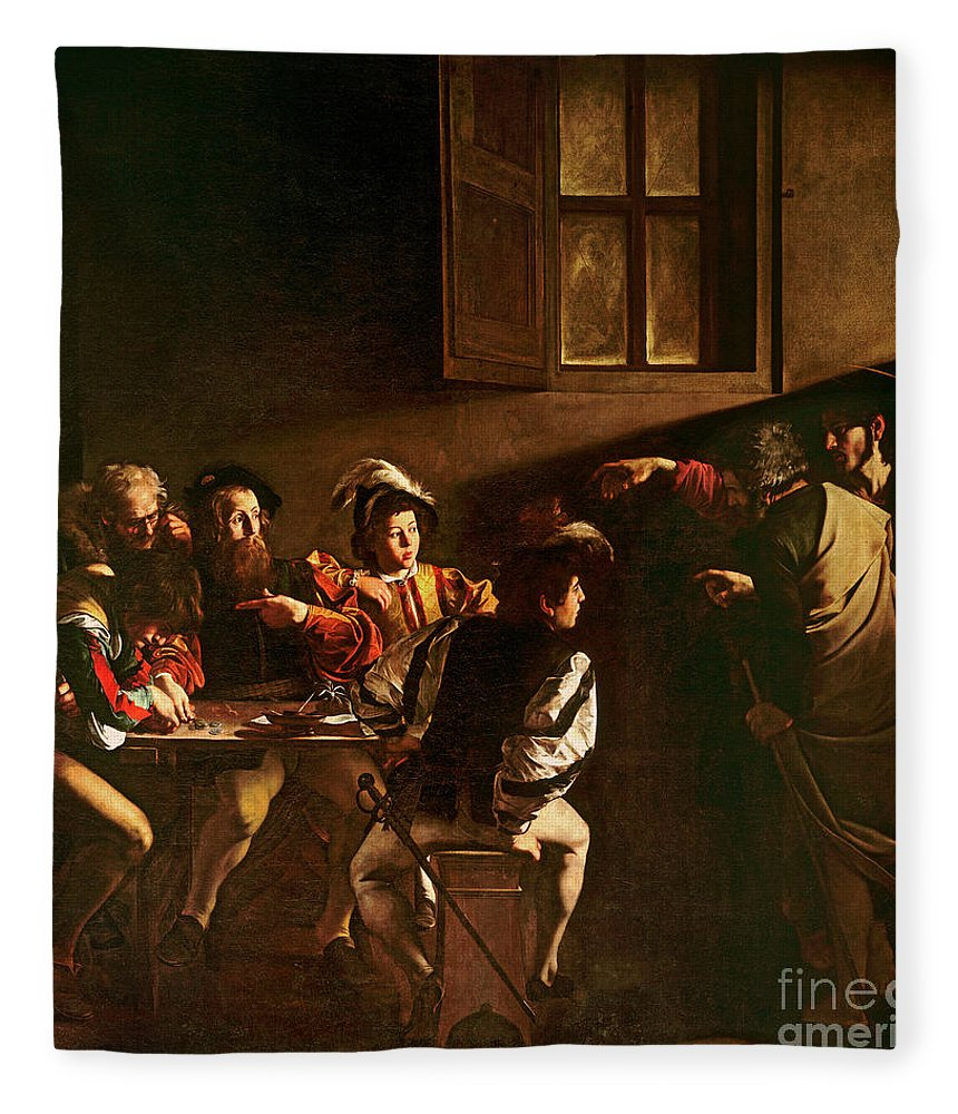 Chiaroscuro Fleece Blanket featuring the painting The Calling Of St Matthew by Michelangelo Merisi o Amerighi da Caravaggio