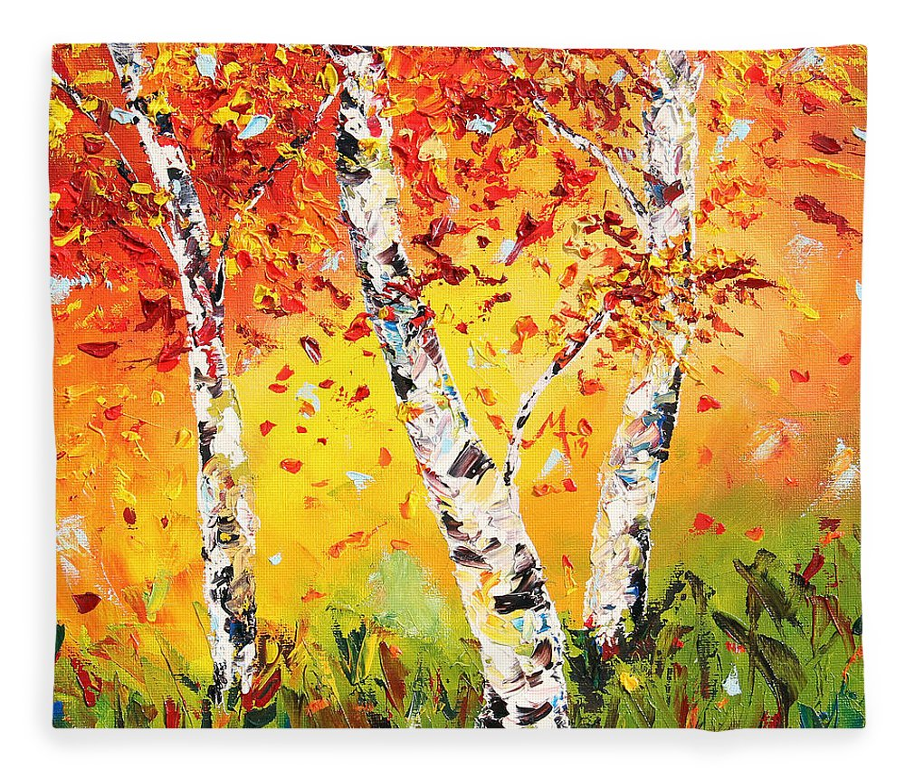 Autumn Fleece Blanket featuring the painting The Change by Meaghan Troup