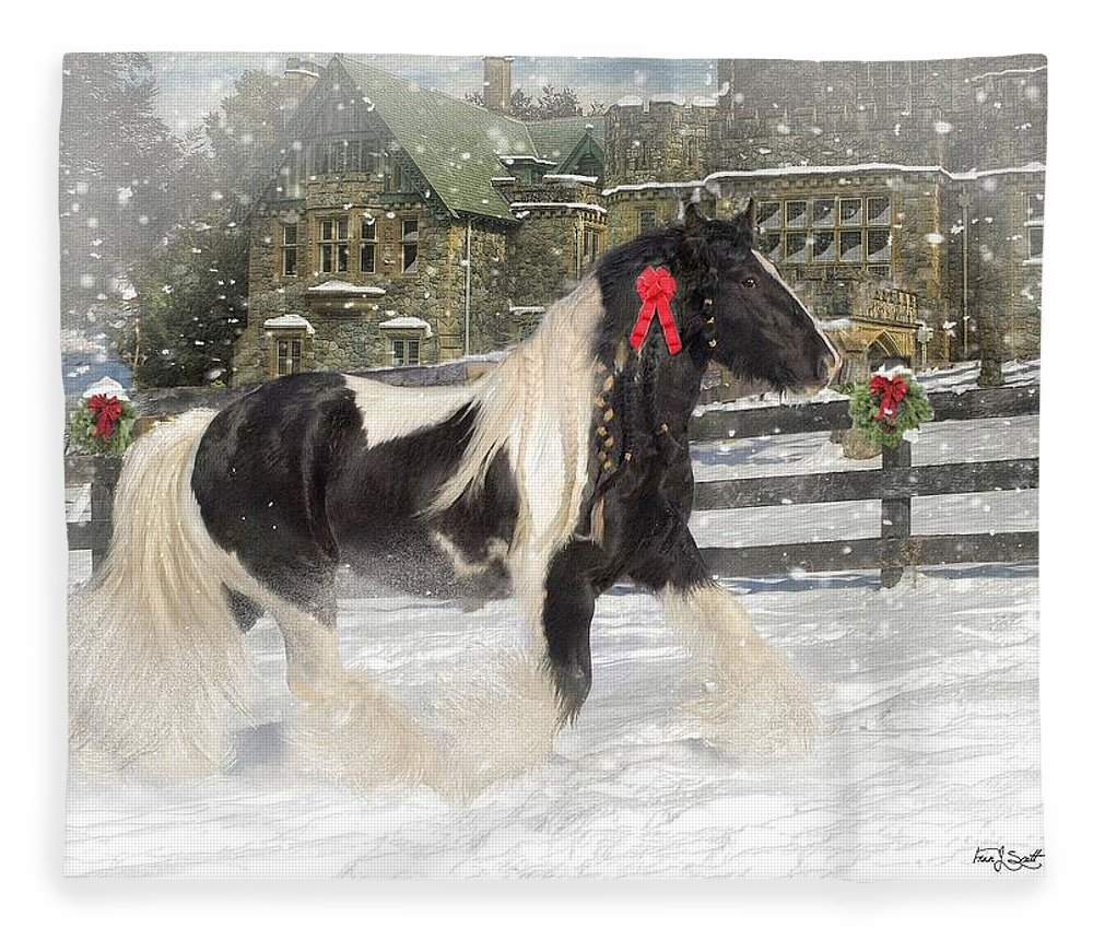 Christmas Fleece Blanket featuring the mixed media The Christmas Pony by Fran J Scott