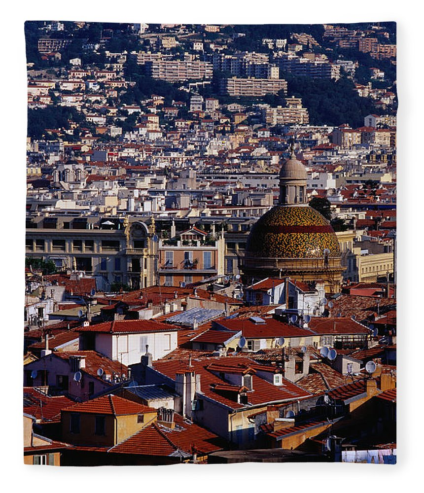 French Riviera Fleece Blanket featuring the photograph The City From Parc Du Chateau Castle by Richard I'anson
