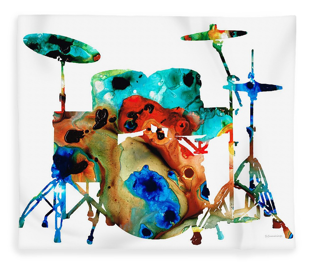 Drum Fleece Blanket featuring the painting The Drums - Music Art By Sharon Cummings by Sharon Cummings