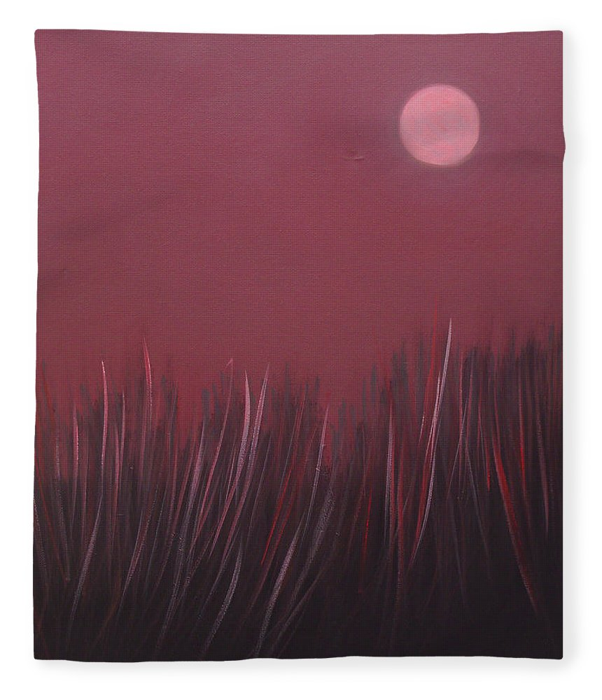 Landscape Fleece Blanket featuring the painting The dusk by Sergey Bezhinets