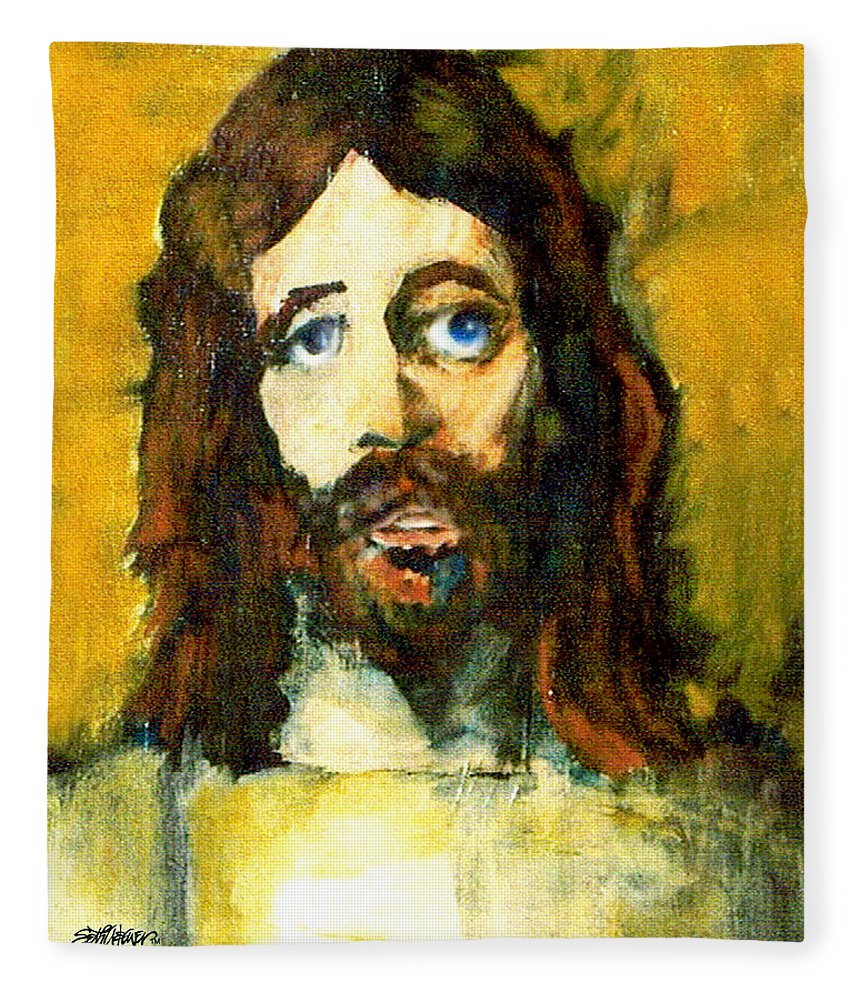 Jesus Christ Fleece Blanket featuring the painting The Galilean by Seth Weaver