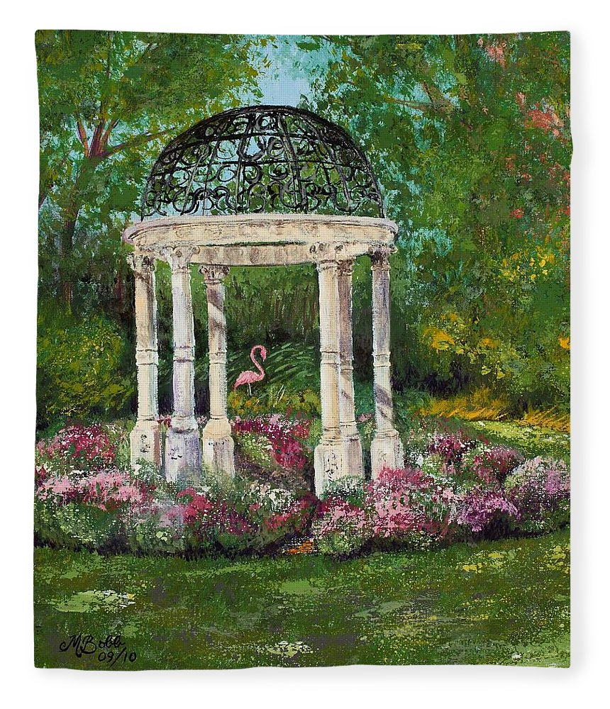 Garden Fleece Blanket featuring the painting The Governor's Gazebo by Margaret Bobb