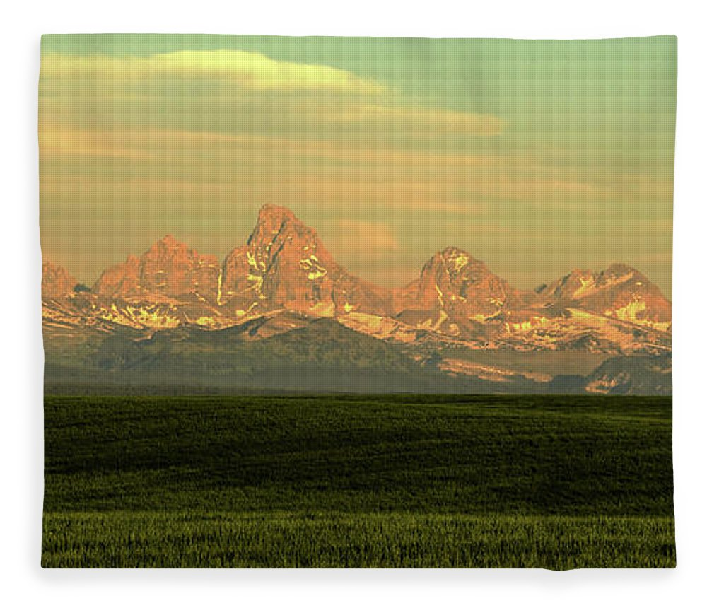 Scenics Fleece Blanket featuring the photograph The Idaho Side Of The Grand Tetons by ©anitaburke