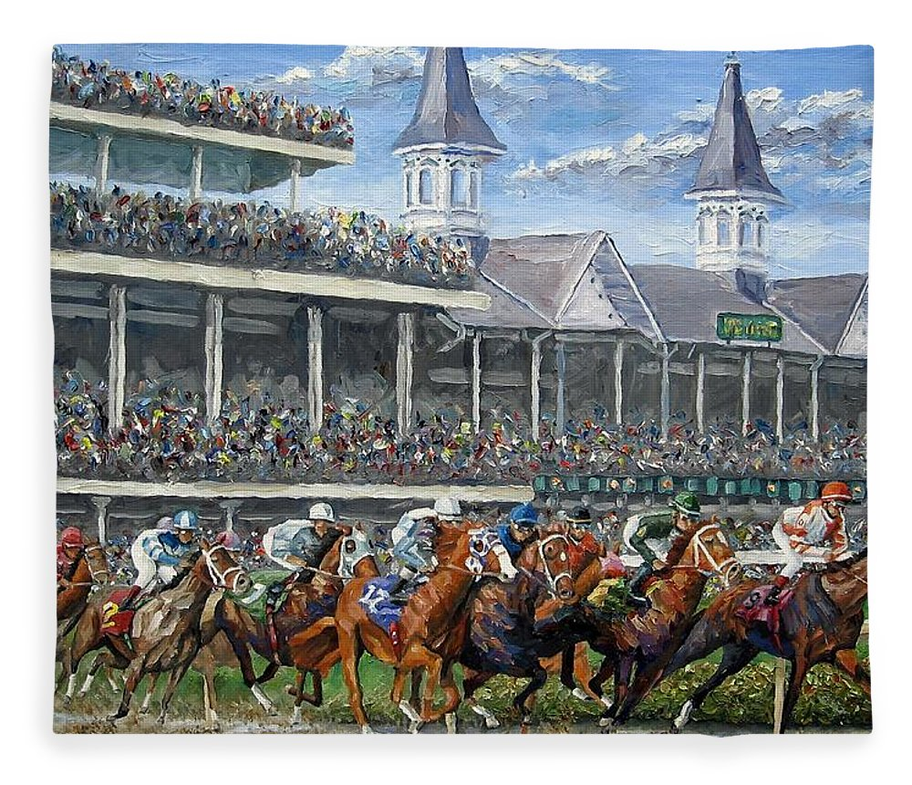 Kentucky Derby Fleece Blanket featuring the painting The Kentucky Derby - Churchill Downs by Mike Rabe