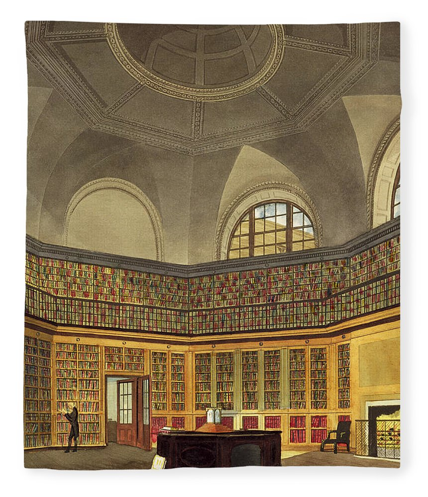 Interior Fleece Blanket featuring the drawing The Kings Library by James Stephanoff