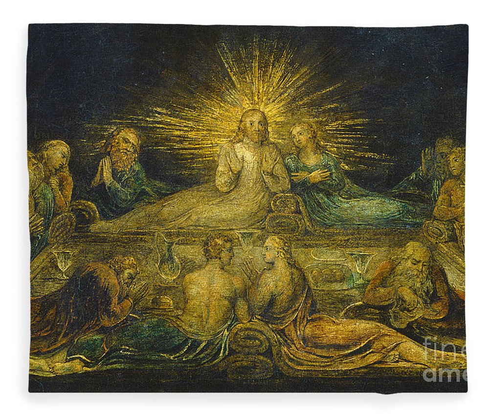 The Last Supper Fleece Blanket for Sale by William Blake