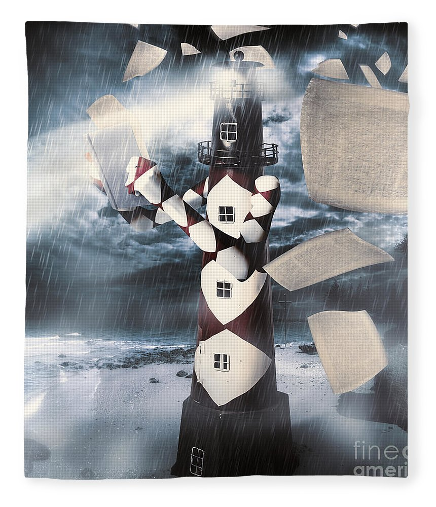 Surreal Fleece Blanket featuring the digital art The Lighthouse And The Fishermans Tale by Jorgo Photography - Wall Art Gallery