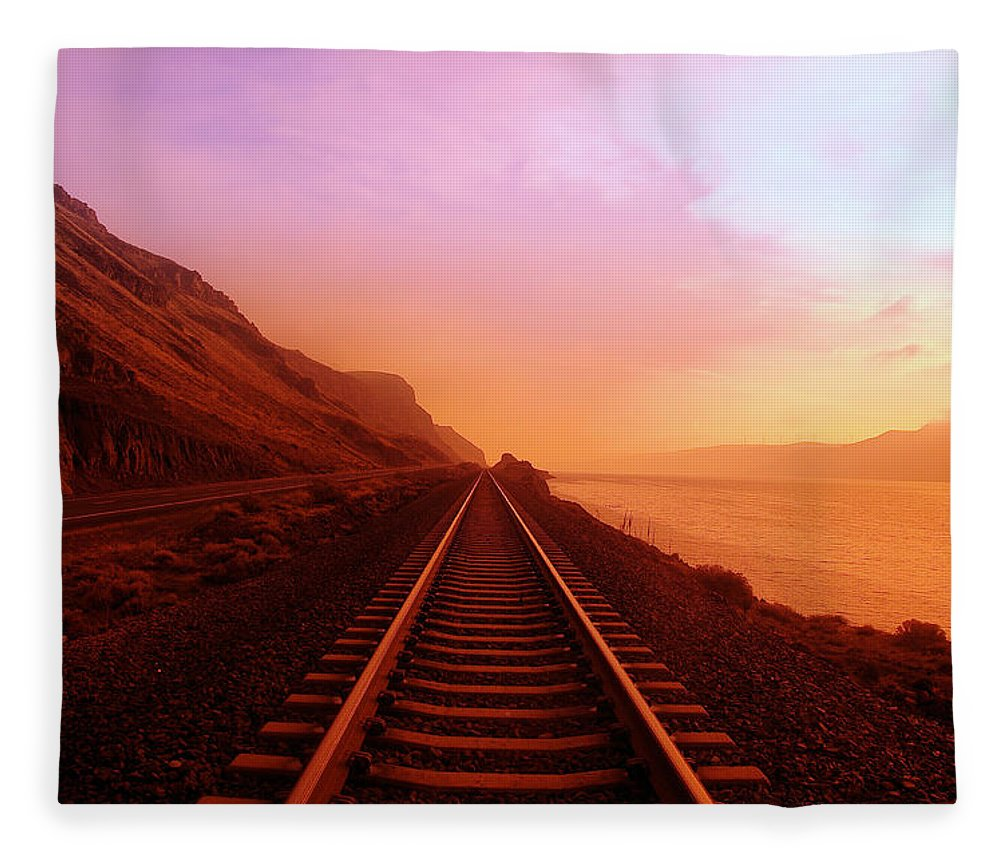 Columbia River Fleece Blanket featuring the photograph The Long Walk To No Where by Jeff Swan