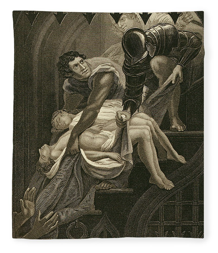 Male Fleece Blanket featuring the drawing The Murder Of The Two Princes by James Northcote