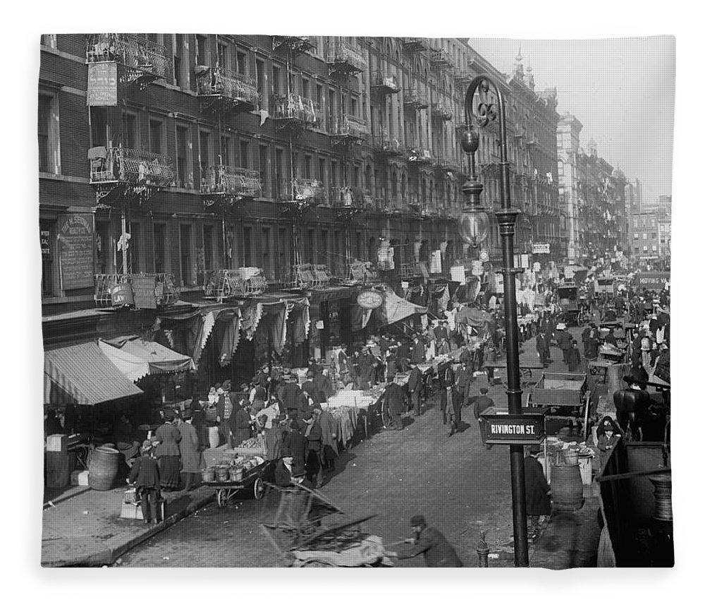 New York Ghetto 1895 Photograph Vintage Black White Bw People Strret Shops Tore Stores Fleece Blanket