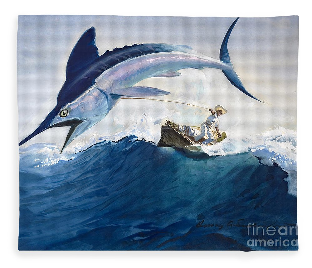 The Fleece Blanket featuring the painting The Old Man and the Sea by Harry G Seabright