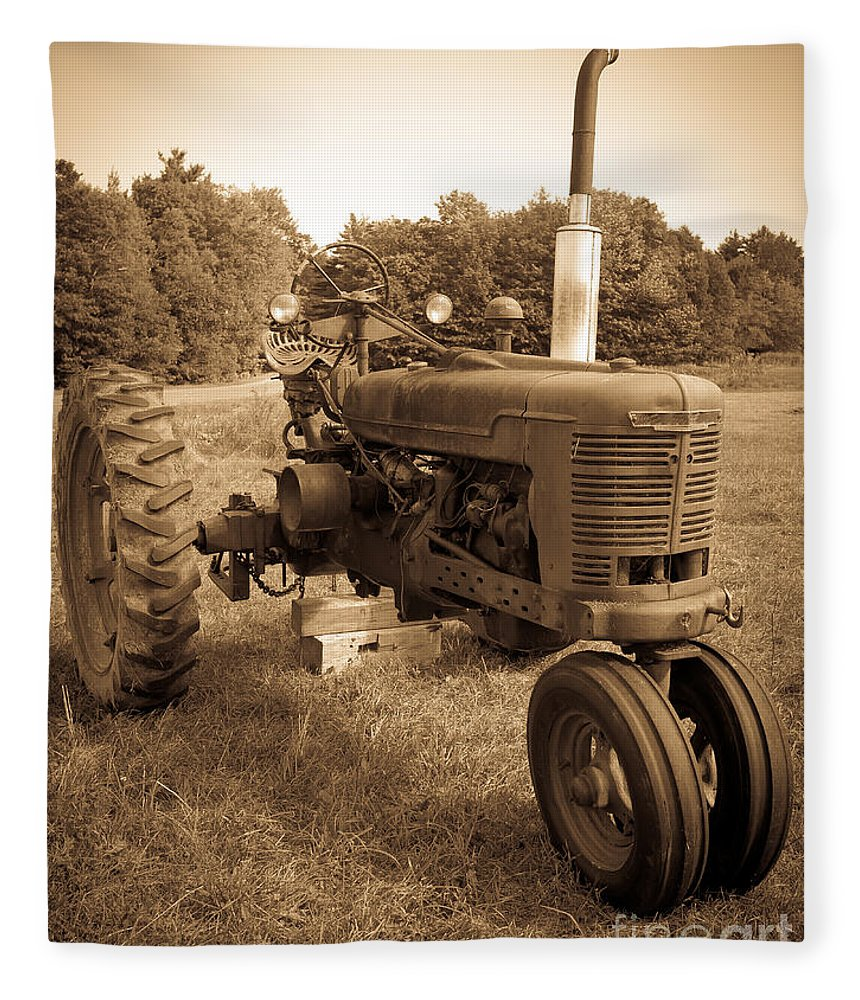 Sepia Fleece Blanket featuring the photograph The Old Tractor Sepia by Edward Fielding