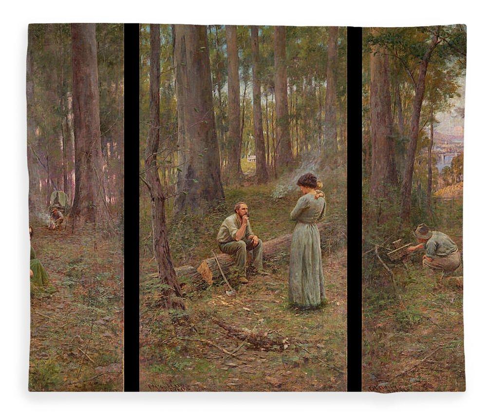 Frederick Mccubbin Fleece Blanket featuring the painting The pioneer by Frederick McCubbin