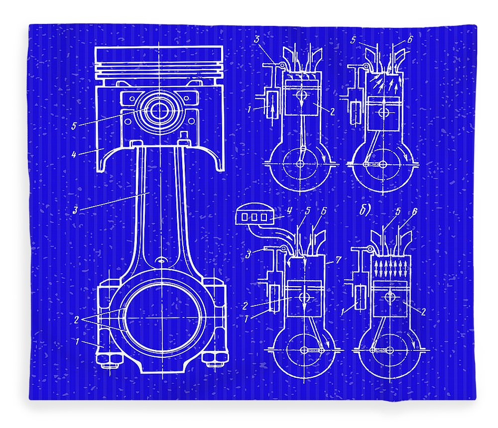 The piston blueprint fleece blanket for sale by don kuing cat fleece blanket featuring the digital art the piston blueprint by don kuing malvernweather Images