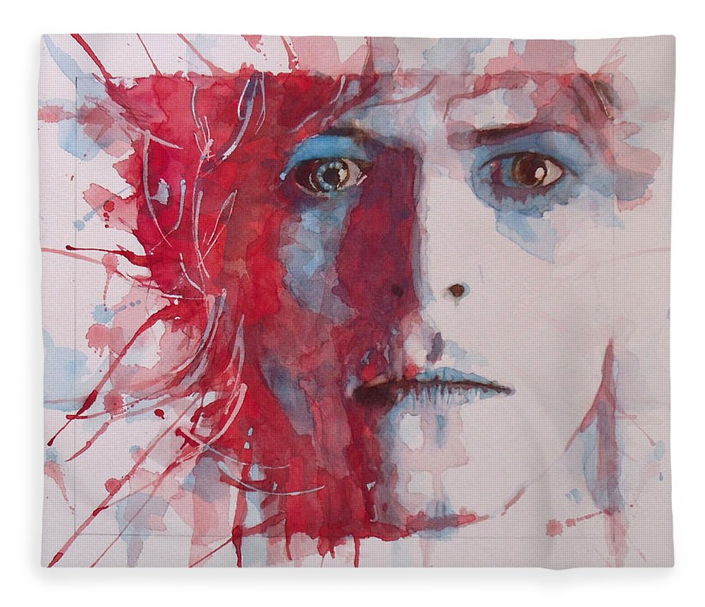 David Bowie Fleece Blanket featuring the painting The Prettiest Star by Paul Lovering