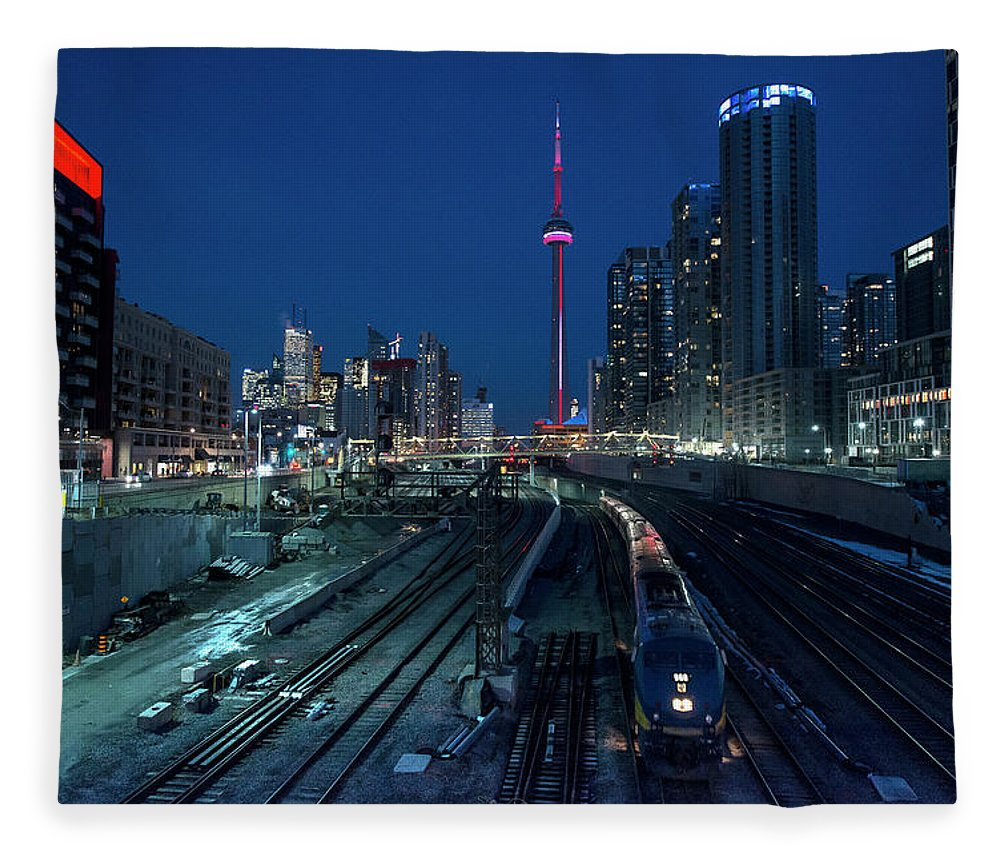 Train Fleece Blanket featuring the photograph The Railway Lands Toronto by This Image