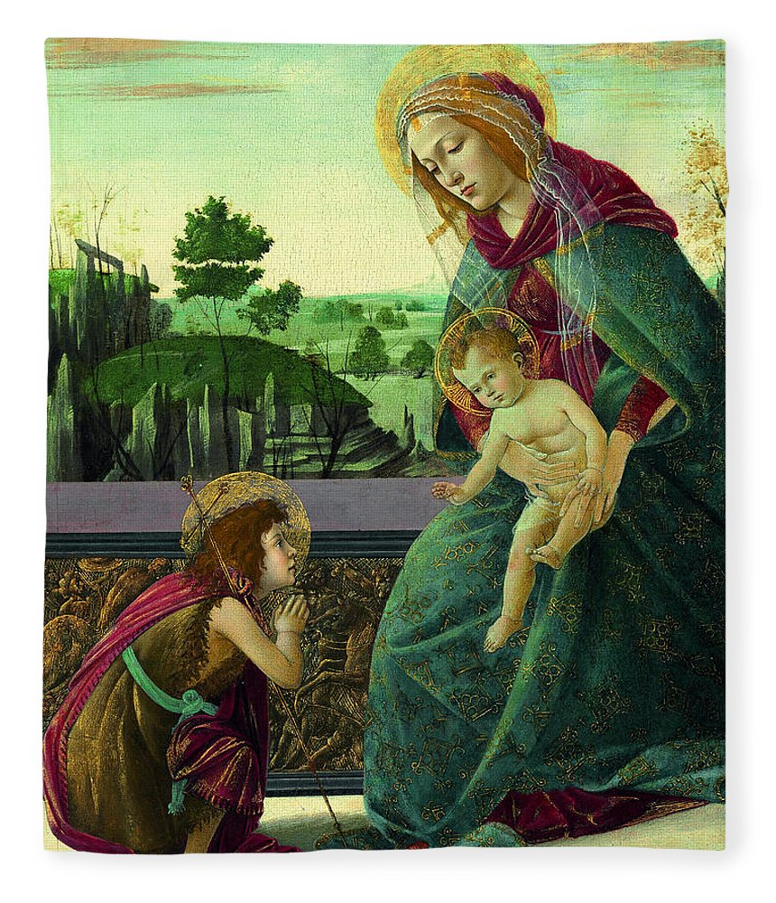Sandro Botticelli Fleece Blanket featuring the painting The Rockefeller Madonna. Madonna And Child With Young Saint John The Baptist by Sandro Botticelli