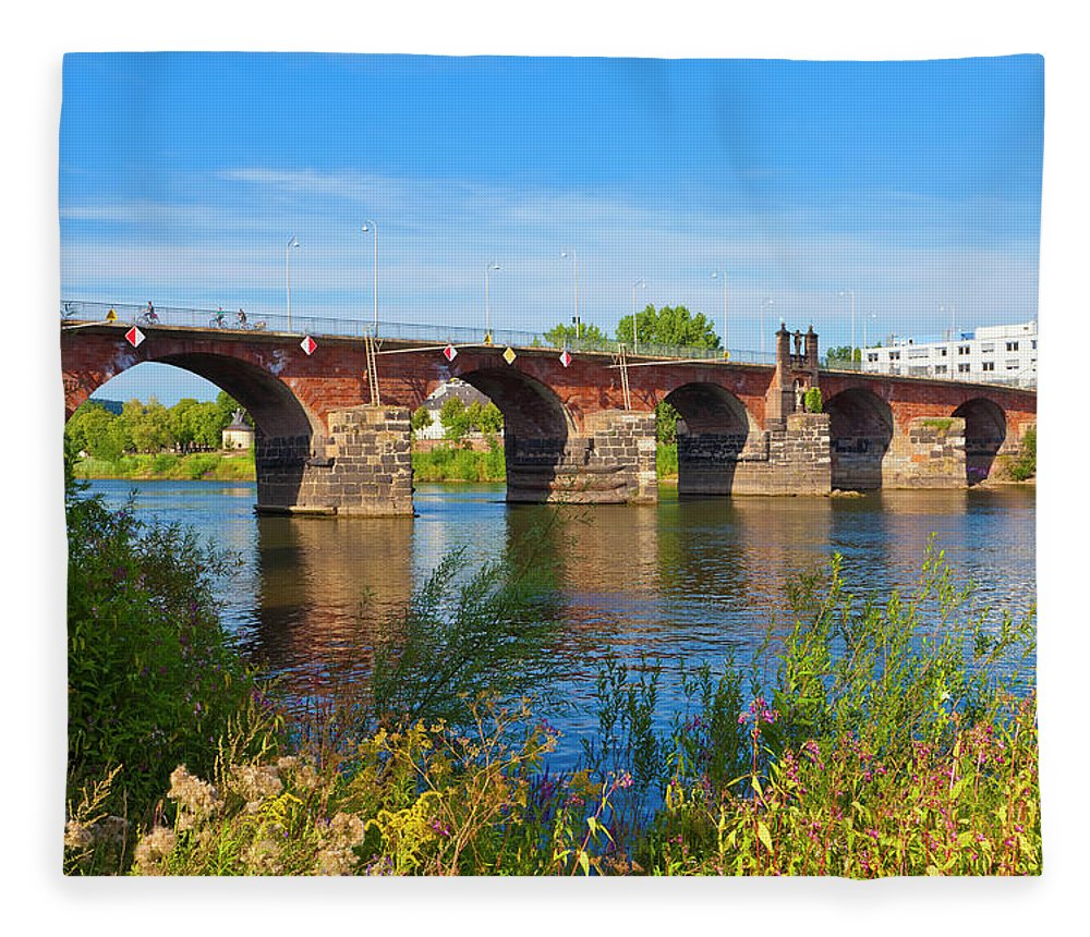 Roman Fleece Blanket featuring the photograph The Roman Bridge Over Mosel River In by Werner Dieterich