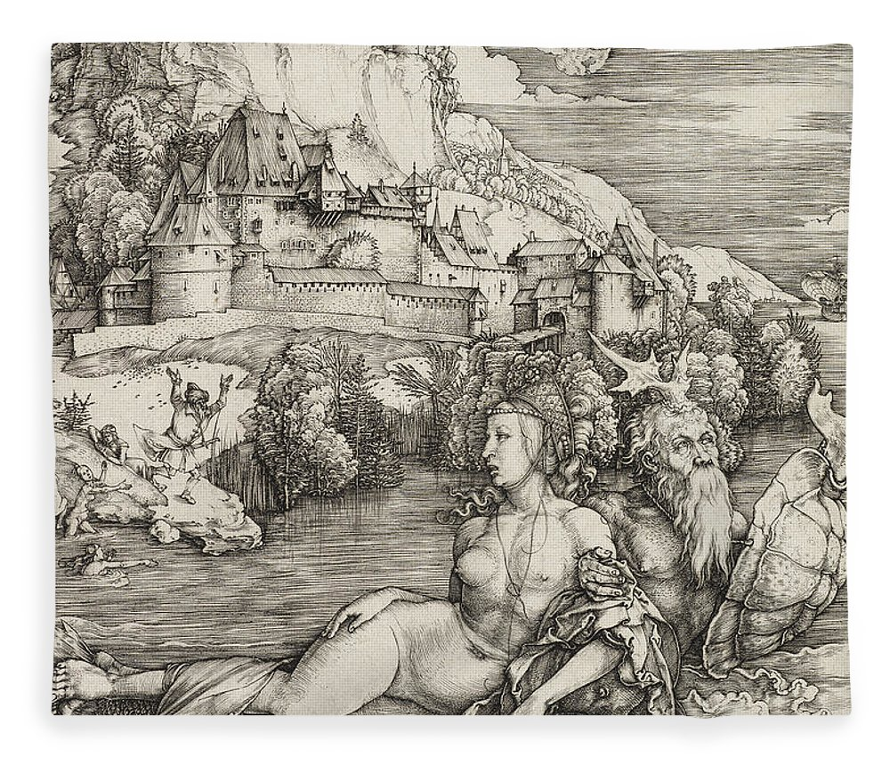 The Sea Monster Fleece Blanket featuring the drawing The Sea Monster by Albrecht Durer or Duerer