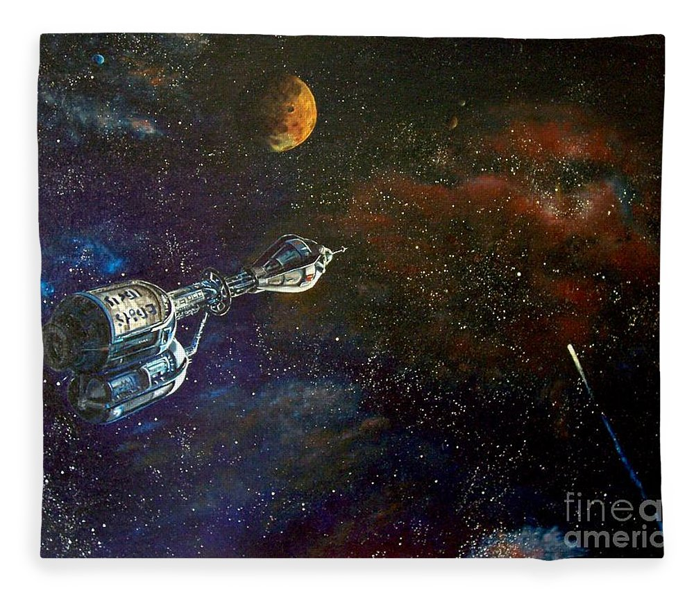 Vista Horizon Fleece Blanket featuring the painting The Search for Earth by Murphy Elliott