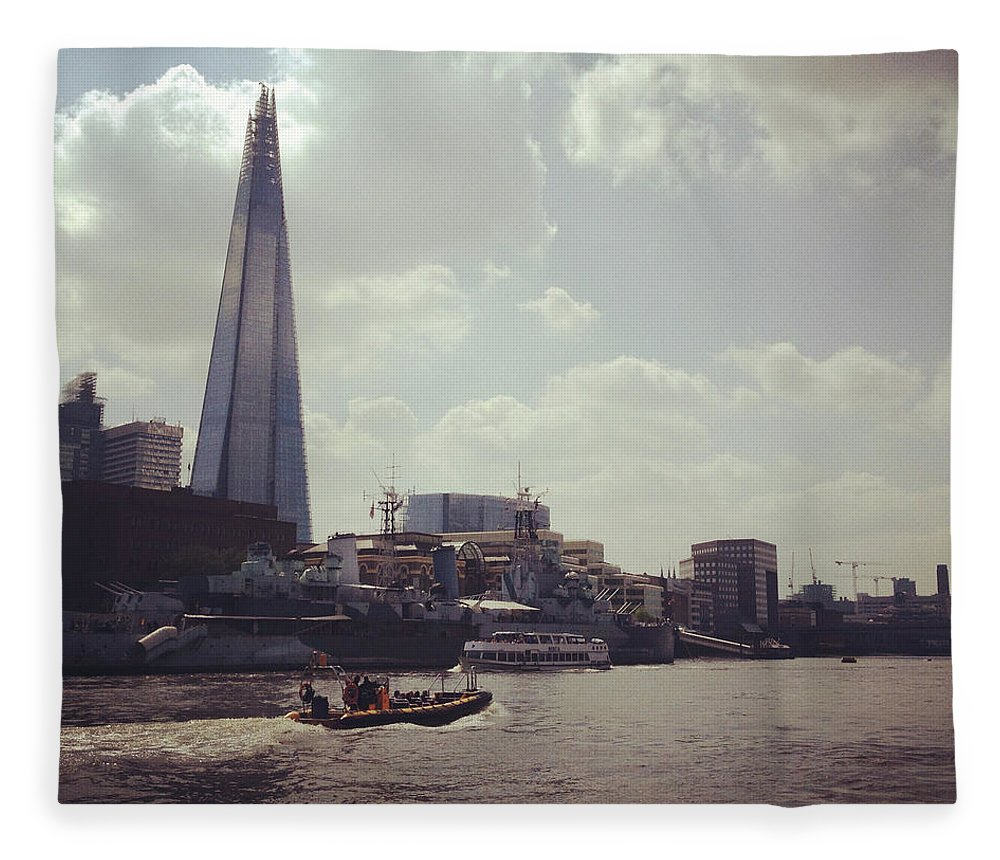 England Fleece Blanket featuring the photograph The Shard And Thames by Denise Taylor