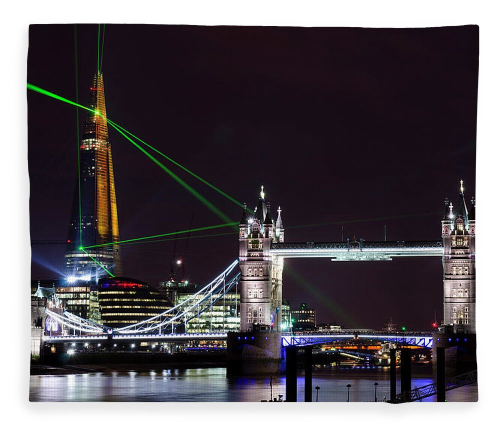 Gothic Style Fleece Blanket featuring the photograph The Shard Skyscraper Opening Laser by Dynasoar
