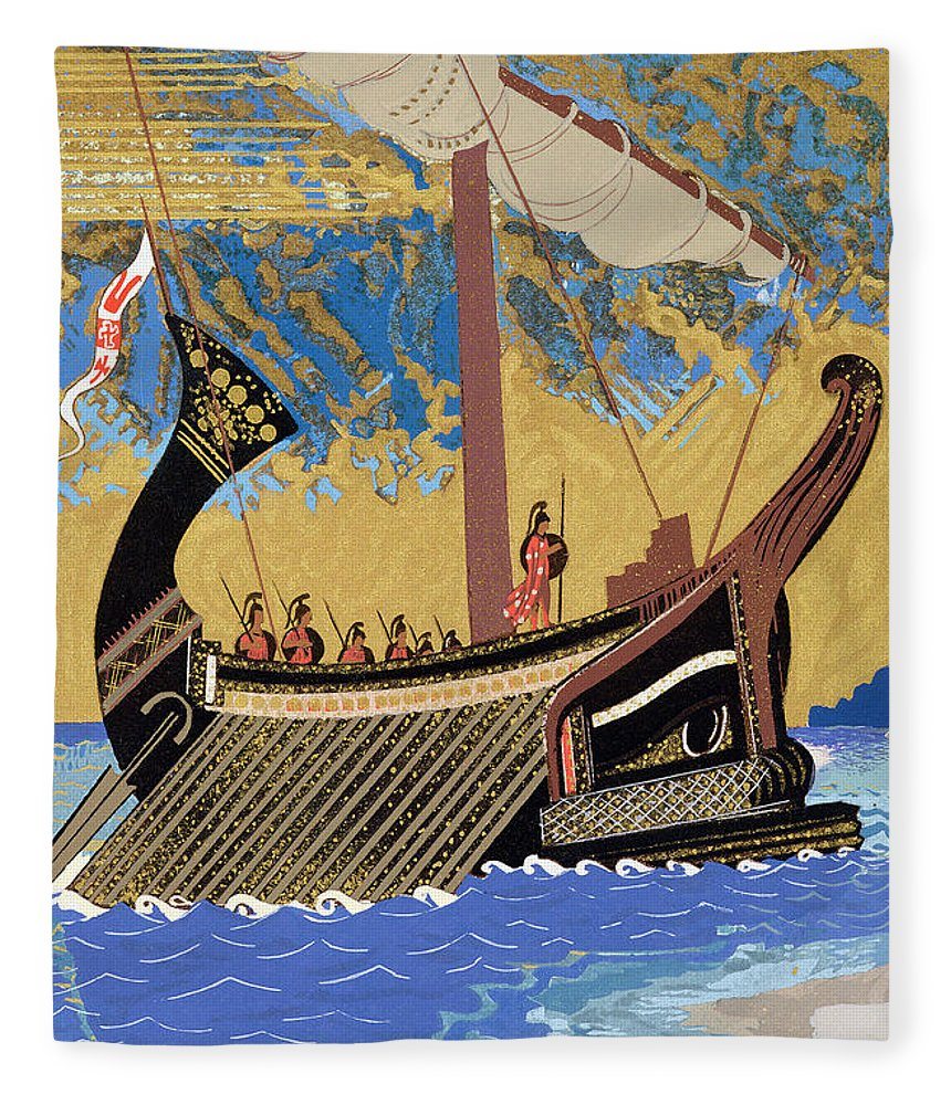 Boat Fleece Blanket featuring the painting The Ship Of Odysseus by Francois-Louis Schmied