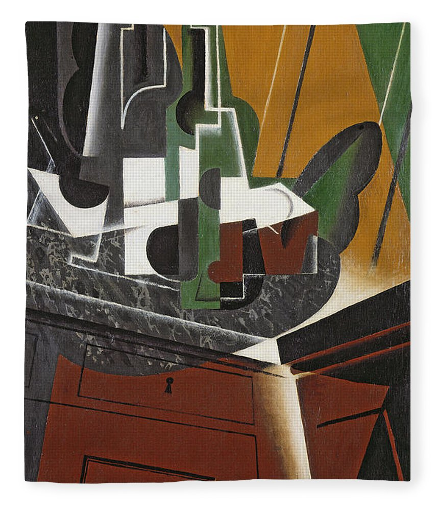 Cubist Fleece Blanket featuring the photograph The Sideboard, 1917 Oil On Plywood by Juan Gris