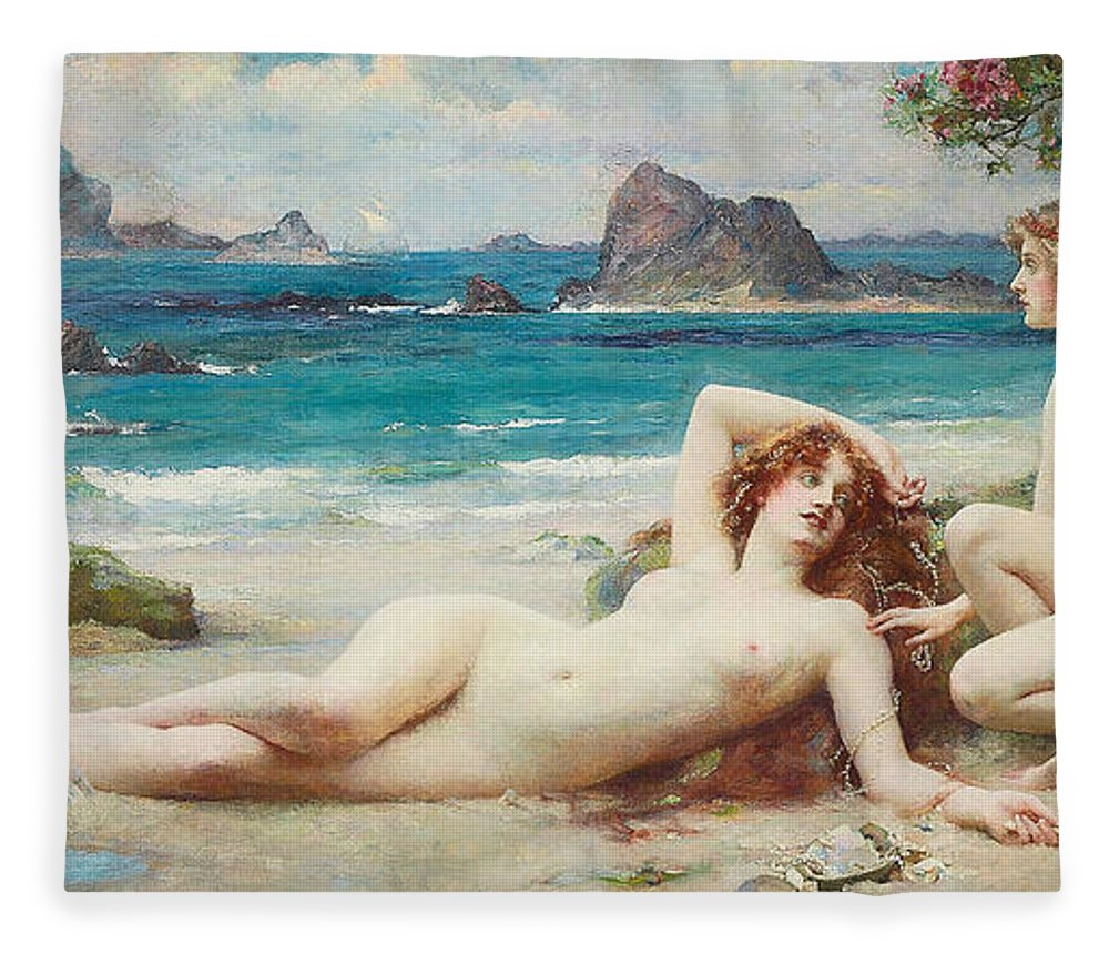Nude Fleece Blanket featuring the painting The Sirens by Henrietta Rae