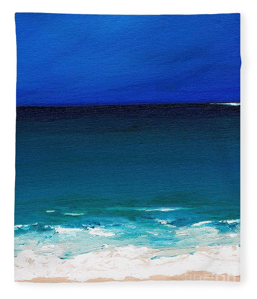Seashore Fleece Blanket featuring the painting The Tide Coming In by Frances Marino