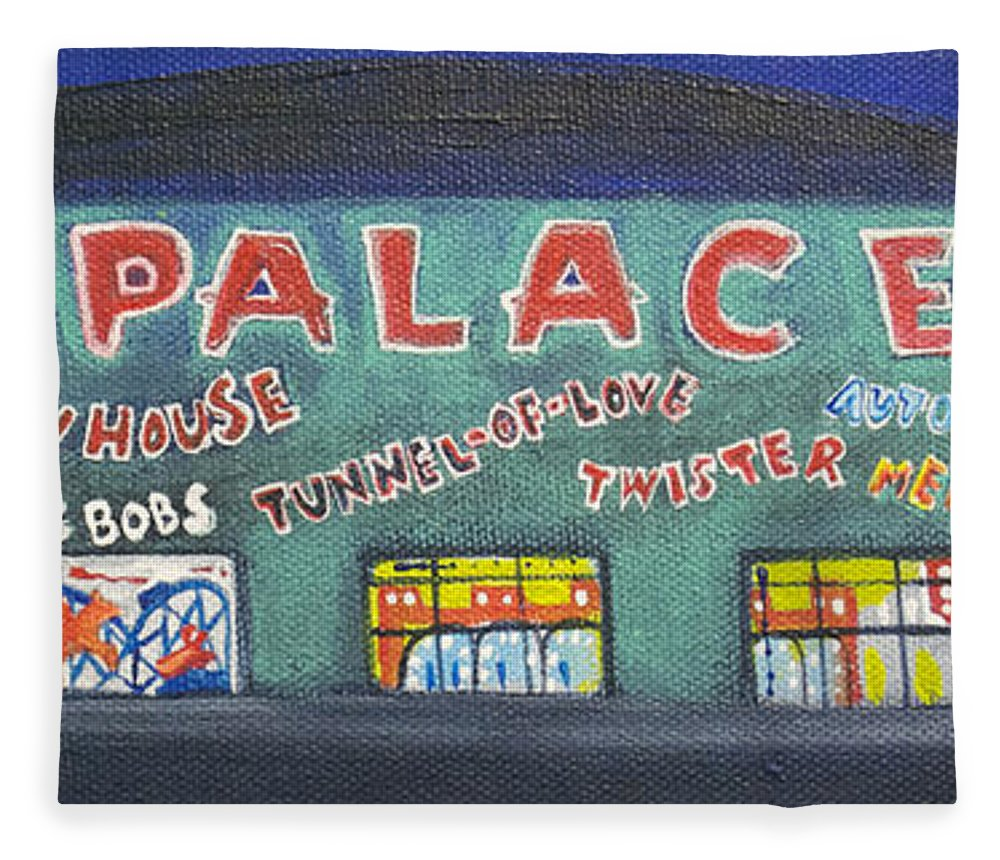 Tillie Of Asbury Park Fleece Blanket featuring the painting The Tiny Tiny Palace by Patricia Arroyo