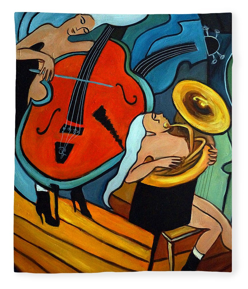 Musician Abstract Fleece Blanket featuring the painting The Tuba Player by Valerie Vescovi