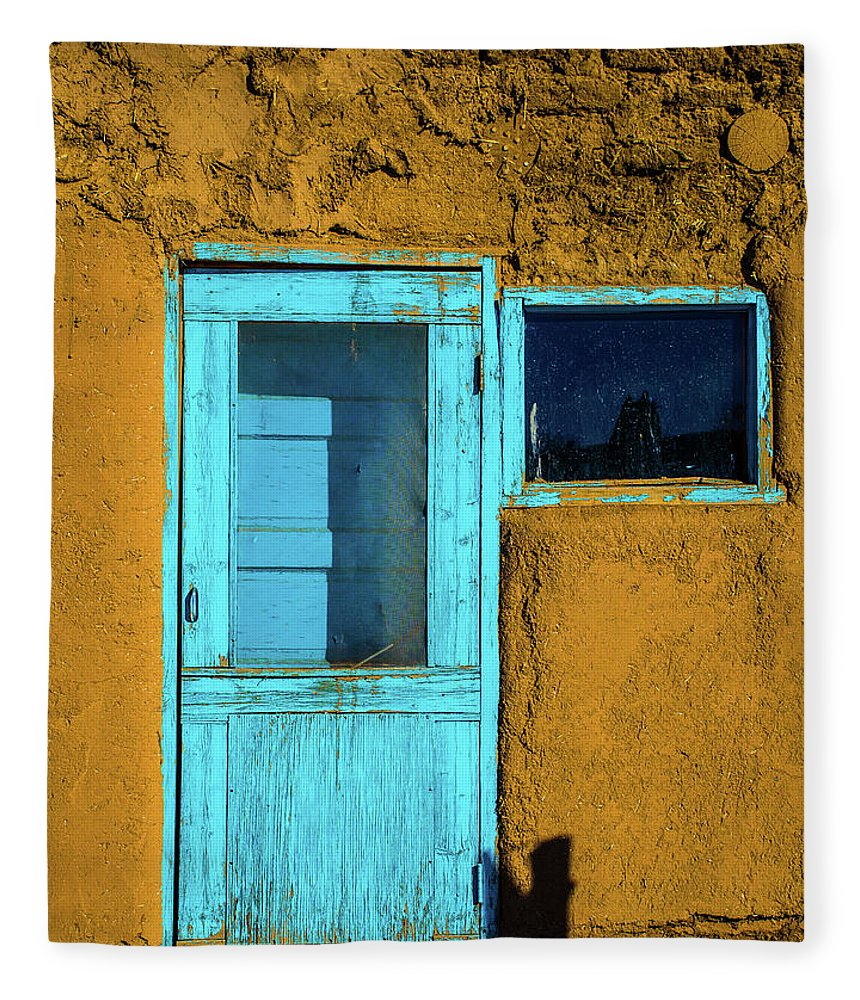 Cool Attitude Fleece Blanket featuring the photograph The Turquoise New Mexican Rustic Door by Roschetzkyistockphoto
