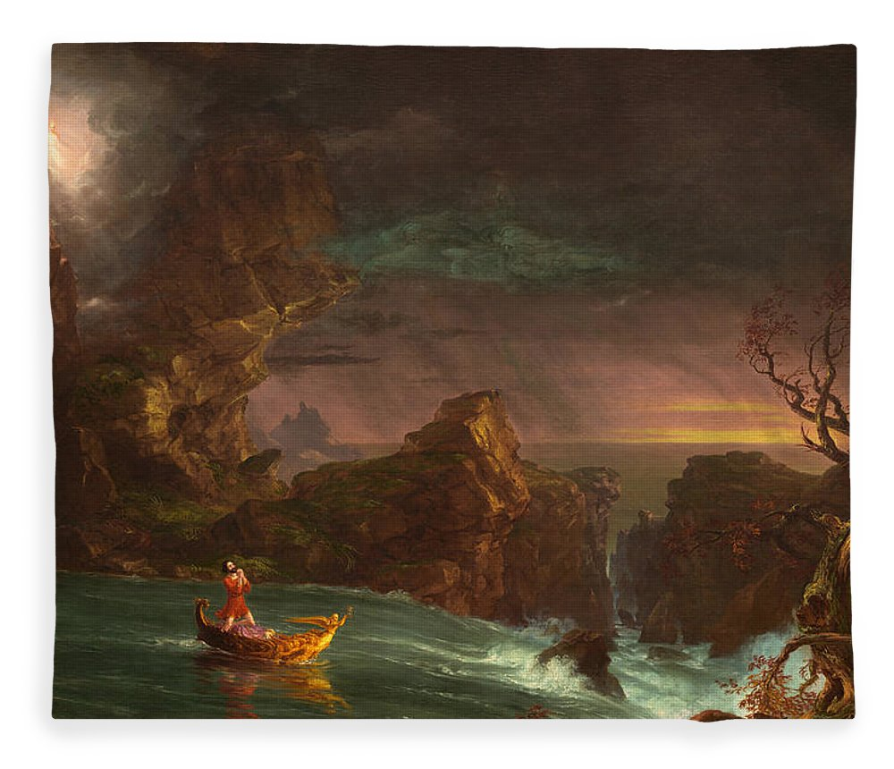 Lifestyles Fleece Blanket featuring the painting The Voyage Of Life Manhood by Thomas Cole