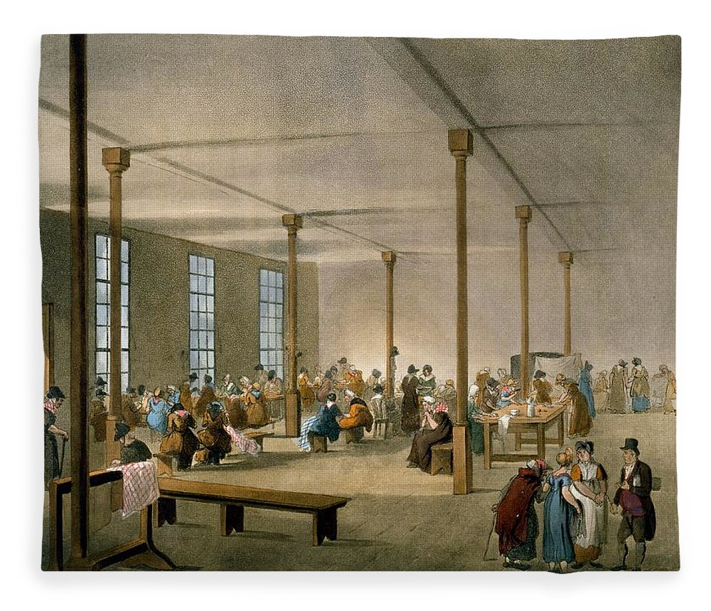 Workhouse Fleece Blanket featuring the drawing The Workhouse, St James, Parish, London by T. & Pugin, A.C. Rowlandson