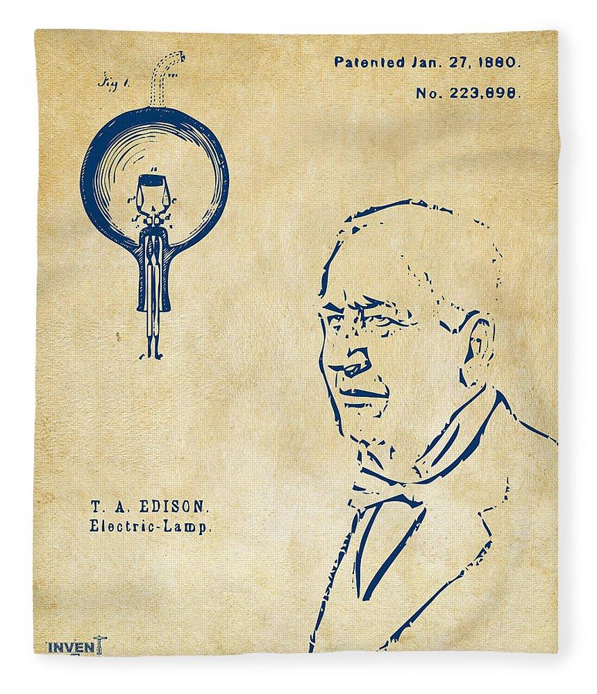 Thomas Edison Fleece Blanket featuring the digital art Thomas Edison Lightbulb Patent Artwork Vintage by Nikki Marie Smith