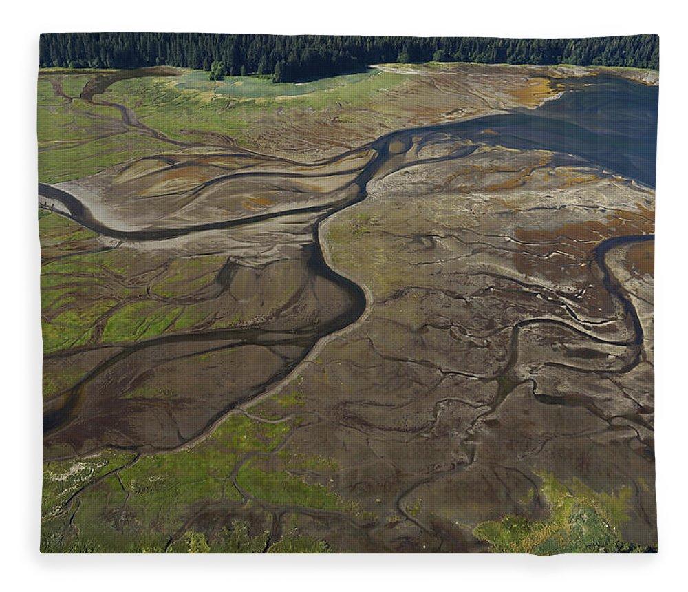 530682 Fleece Blanket featuring the photograph Tidal Flat Inside Passage Alaska by Hiroya Minakuchi