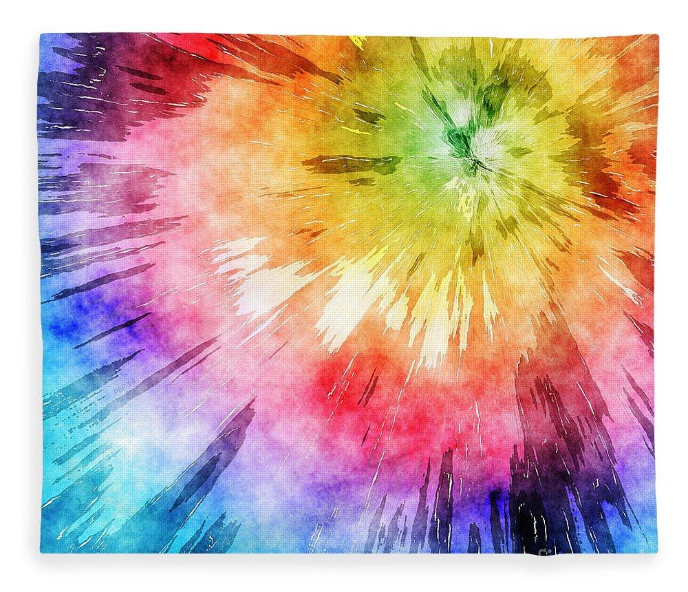 Tie Dye Watercolor Fleece Blanket