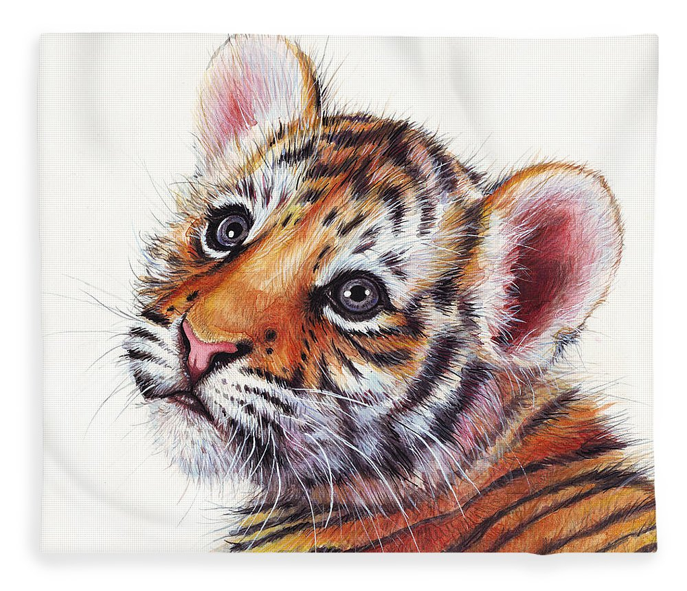 Tiger Fleece Blanket featuring the painting Tiger Cub Watercolor Painting by Olga Shvartsur