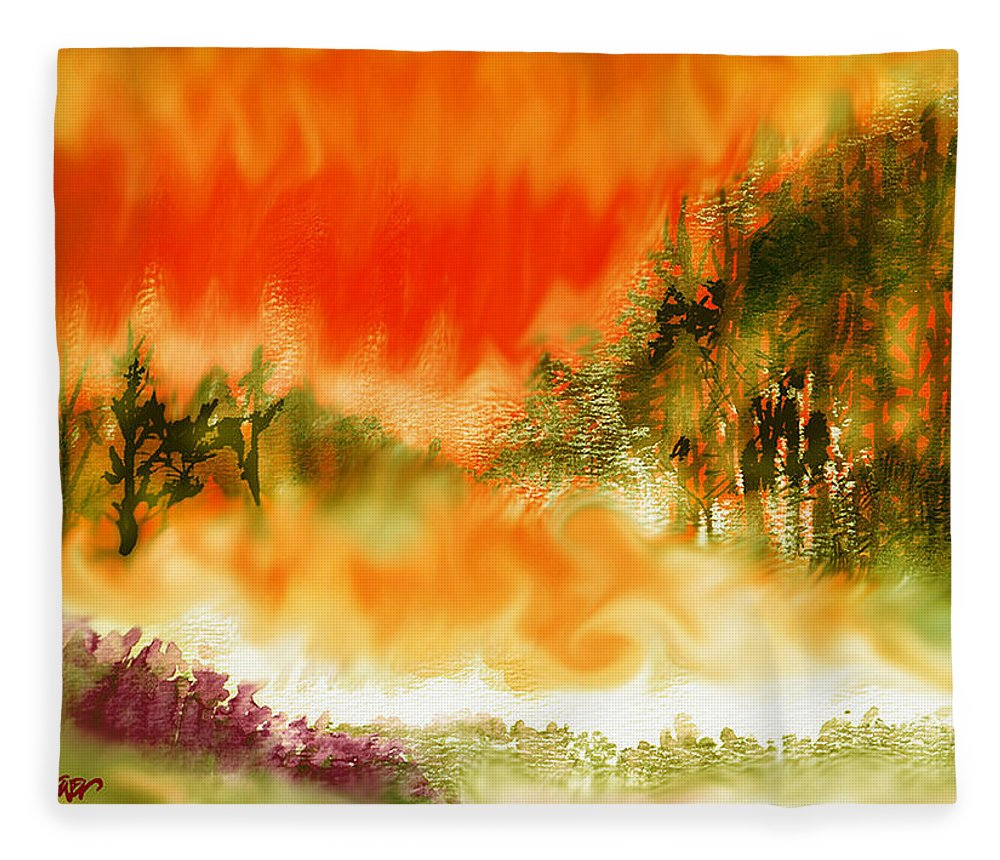 Timber Blaze Fleece Blanket featuring the mixed media Timber Blaze by Seth Weaver
