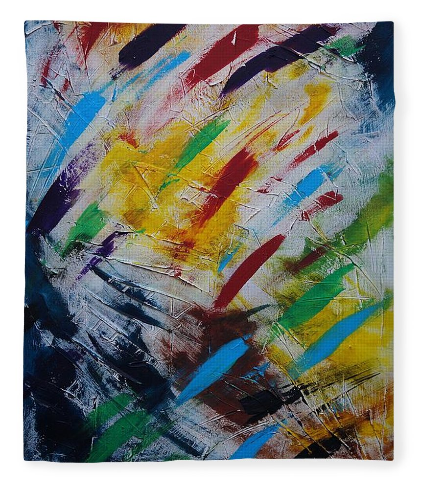 Abstract Fleece Blanket featuring the painting Time stands still by Sergey Bezhinets