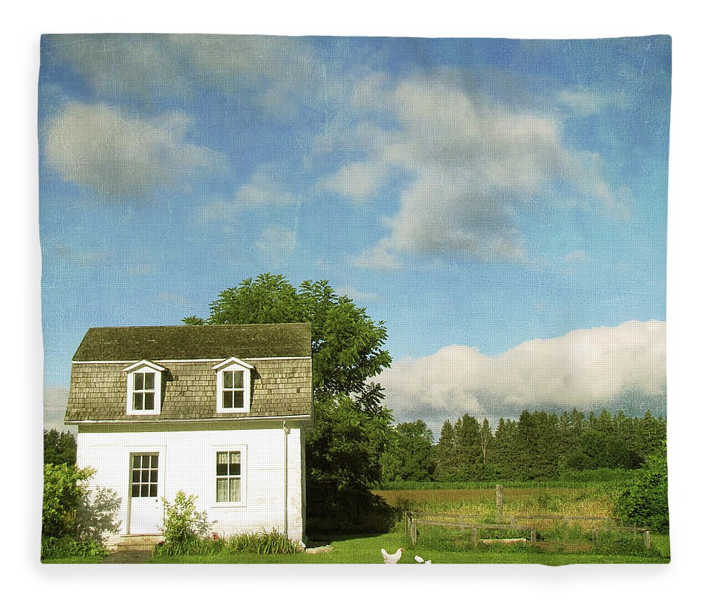 Tranquility Fleece Blanket featuring the photograph Tiny Country House by Francois Dion