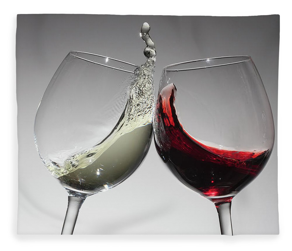 Alcohol Fleece Blanket featuring the photograph Toasting With Glasses Of Water And Red by Dual Dual