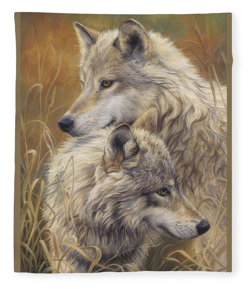 Wolf Fleece Blanket featuring the painting Together by Lucie Bilodeau