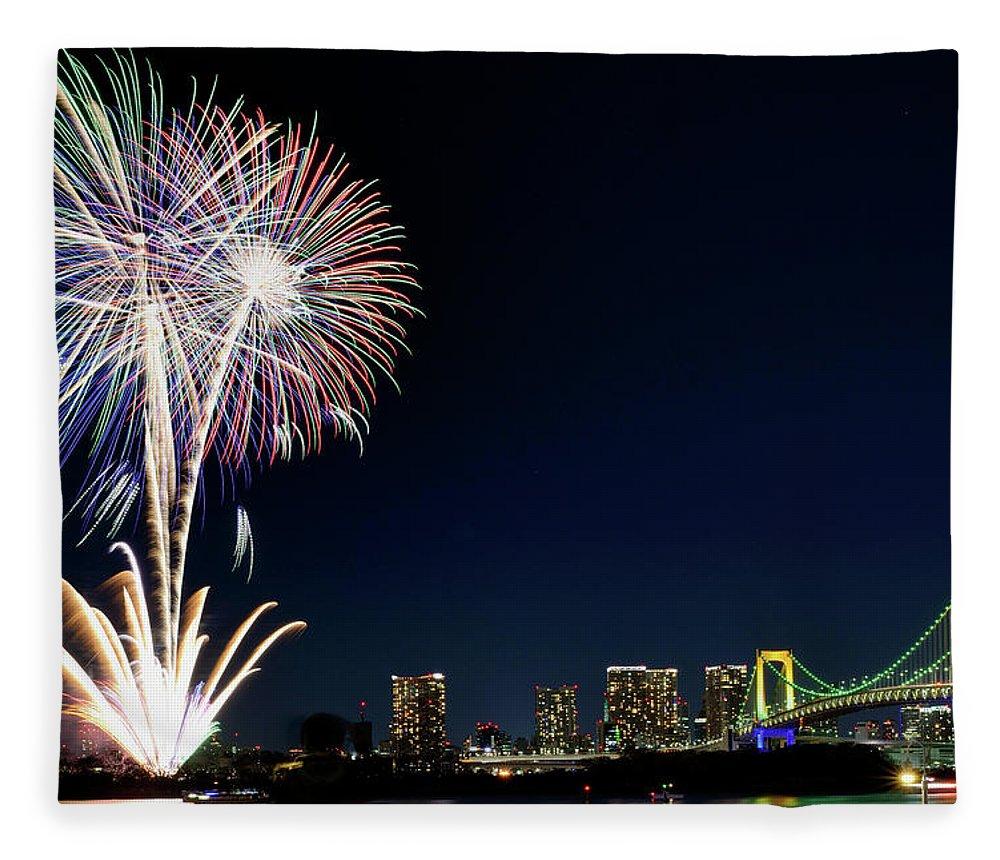 Firework Display Fleece Blanket featuring the photograph Tokyo Fireworks by Vladimir Zakharov