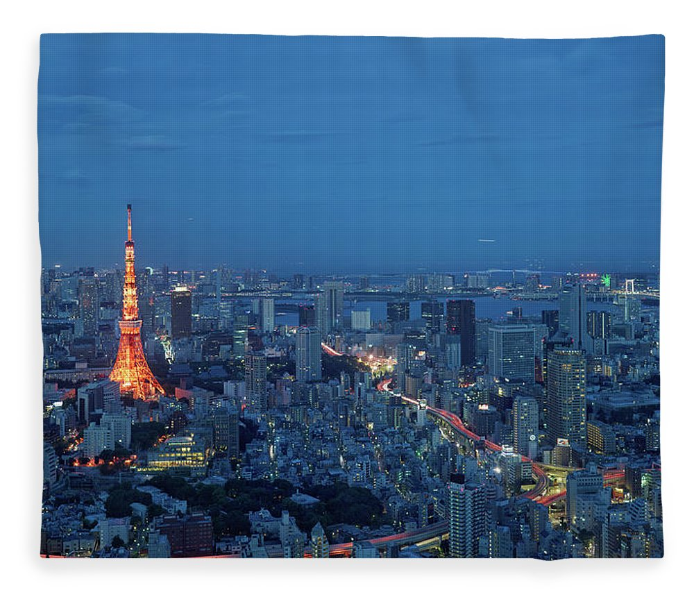 Tokyo Tower Fleece Blanket featuring the photograph Tokyo Skyline With Tokyo Tower Landmark by Yat Lee